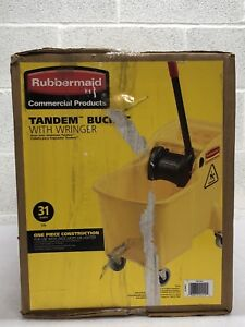 Rubbermaid Commercial Products Tandem Bucket With Wringer 31 Quart 1887304