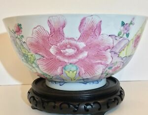 A Large 17th 18th C Antique Chinese Famille Rose Export Porcelain Punch Bowl