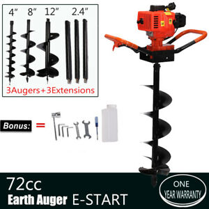 72cc Power Engine 4hp Gas Powered One Man Post Hole Digger Drill Bits 4 8 10