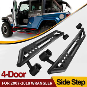 For 07 17 Jeep Wrangler Jk Unlimited 4 Door Side Steps Black Rock Sliders Guards