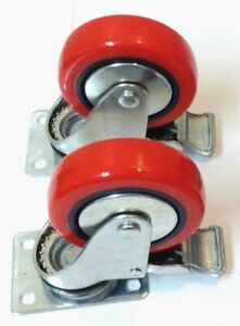 4 Heavy Duty 4 Inch Polyurethane Brake Locking All Swivel Caster Wheels