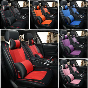 Us Stock Universal 5 Seats Car 3d Seat Cover Luxury Front rear Cushion W pillows