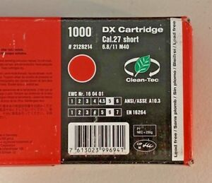 Hilti 1000 Pcs 6 8 11m40 Red Dx Cartridge 27 Cal Short 2128214 New