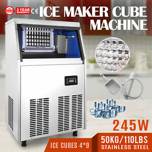 50kg 110lbs Commercial Ice Cube Making Machine Ice cream Stores 110v Ice Spoon