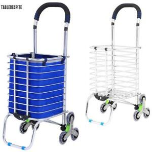 6 Wheel Upgraded Shopping Cart Folding Stair Climbing Grocery Laundry Cart Bag