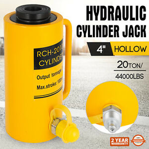 20 Tons 4 Hollow Hydraulic Cylinder Jack Safe 100mm 4inch Stroke Ram Heavy Duty