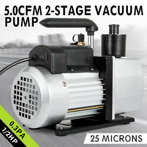 5cfm Vacuum Pump 2 stage 1 2 Hp Rotary 1 2 acme Inlet Refrigerant 1 4 flare