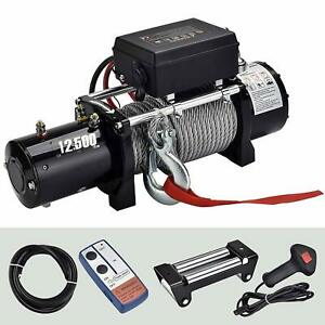 12500lbs 12v Electric Recovery Winch Towing Truck Suv Wireless Remote Control
