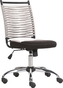 Horizon Kids Office Computer Desk Chair In Grey With Bungee Corded Back
