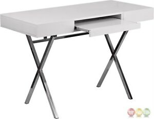 45 25 w X 21 75 d White Computer Desk With Keyboard Tray And Drawers
