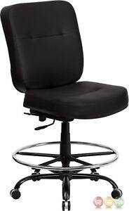 Hercules Big Tall Black Leather Drafting Chair W Extra Wide Seat