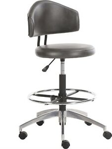 Horizon Office Swivel Drafting Stool In Faux Grey Leather And Chrome Finish