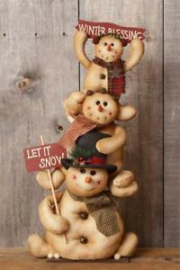 New Primitive Christmas Lg Tall Snowman Stack Doll Winter Blessings Family 30