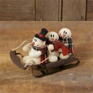 New Primitive Christmas Snowman Family On Sled Doll Figure 7