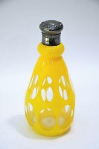 Art Glass Perfume Cologne Bottle With Sterling Lid