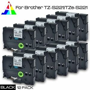 12 Pack Tz 221 P touch Compatible For Brother Black On White Tape 9mm Tze 22