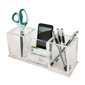 New Deluxe Desktop Organizer Clear Acrylic Business Card pencil pen Holder