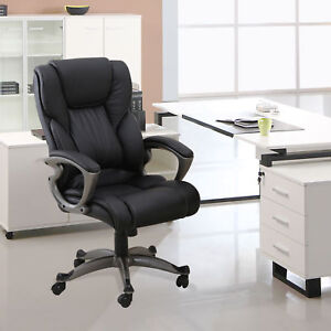 Pu Leather High Back Office Chair Executive Task Ergonomic Computer Desk Black 6