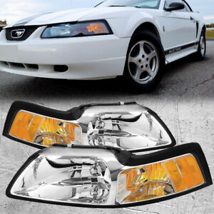 Perde Chrome Headlights Set Fits 1999 2004 Ford Mustang Upgraded 9007 Xenon Bulb