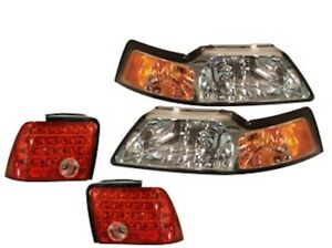 Fits 1999 2004 Ford Mustang Chrome Headlamps Headlights Set W led Tail Lights