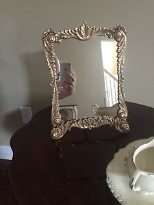 Vintage Ornate Cast Brass Free Standing Easel Mirror With Scrolls
