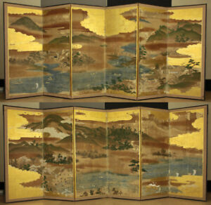 Japanese 18th C Hand Painted Folding Screen With Part One Of 12 Panels