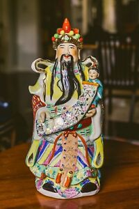 Qing Dynasty Porcelain China Money God Cai Shen Statue Chinese Antique 22in 56cm