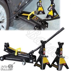 Floor Jack Stands 2 25 Ton Trolley Car Lifting Professional Heavy Duty Metal Too