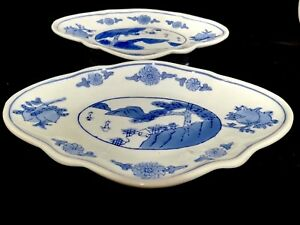 Chinese Vintage Antique Blue And White Porcelain Plate One Pair
