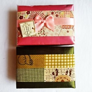 Beauty Handmade Thaisilk Jewelry Gift Box Display For Ring Earring Case 2 Pcs