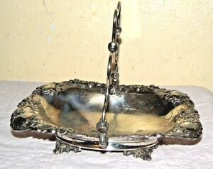 Plate Antique Co Silver Basket Brides Quadruple Footed Victorian Bride S Cake Me