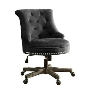 Riverbay Furniture Armless Upholstered Office Chair In Charcoal Gray