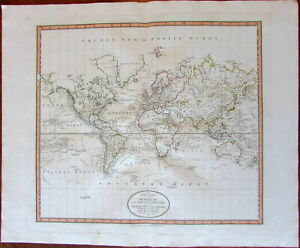 World Map Discovery Navigator Tracks Stony Mts 1801 Cary Lovely Large Old Map