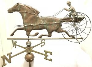Antique 32 Copper Sulky Jockey Horse Carriage Buggy Weathervane W Directionals