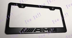 Amg 3d Raised Mercedes Black Stainless Steel License Plate Frame Rust Free