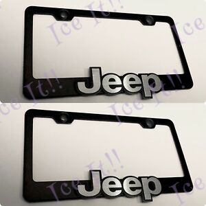 2x 3d Raised Emblem For Jeep Cherokee Black Stainless Steel License Plate Frame