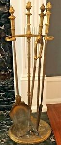 Antique Ornate Ormolu Set Of 3 Fireplace Tools With Stand