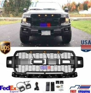 Black 2018 F150 Raptor Style Front Grille Upper Grill For Ford F 150 W Side Led