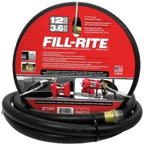 Fill rite Frh07512 Fuel Transfer Hose With Static Wire Spring Guards 3 4 In X 12