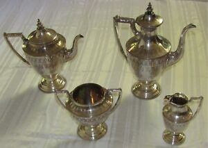 Tea Coffee Set Silver Plated 1890s By Timm