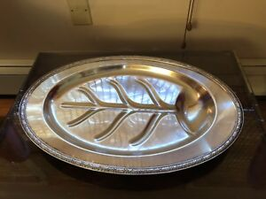 Rare Antique Ashby By Onieda Large Footed Silver Plate Serving Platter 3614 3