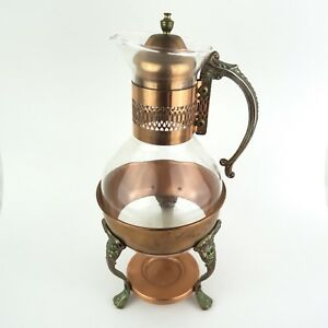 Copper And Glass Coffee Tea Carafe Serving Set And Warmer Foundation