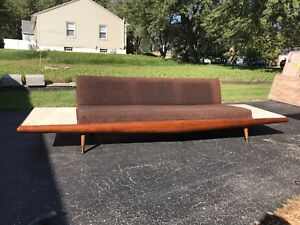 Adrian Pearsall Mid Century Modern Gondola Style Sofa W Travertine End Tables