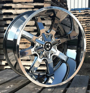 22 Chrome Lonestar Gunslinger Wheels 22x12 44mm Gmc Chevy 6x139 7 Ford 6x135