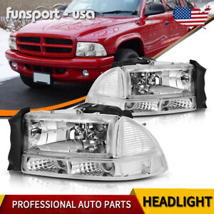 For 1997 2004 Dodge Dakota durango Chrome Housing Headlight Bumper Lamps Set Us