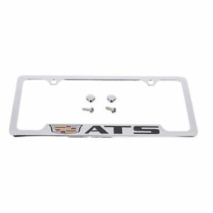 Oem License Plate Frame Chrome W crest Black Ats Logo 14 18 Cadillac 19330364