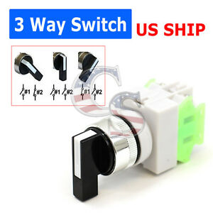3 Way On off Ac Dc 22mm Rotary Two Position Selector Switch Power Lay37 Lay 7