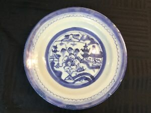 Estate Antique 19th C Chinese Export Canton Blue White Porcelain 3