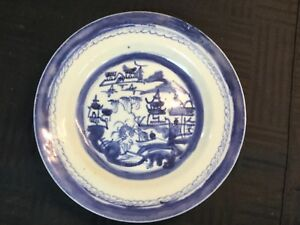 Estate Antique 19th C Chinese Export Canton Blue White Porcelain 4