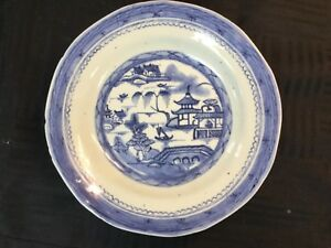 Estate Antique 19th C Chinese Export Canton Blue White Porcelain 2